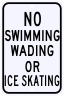 No Swimming, Wading, Or Ice Skating Sign