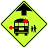 School Bus Stop Ahead Symbol Sign - Fluorescent Yellow Green