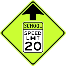 Reduced School Speed Limit Ahead Sign - Fluorescent Yellow Green