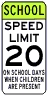 School Days Speed Limit 20 MPH Assembly Sign - Fluorescent Yellow Green