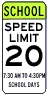 School Times Speed Limit 20 MPH Assembly Sign - Fluorescent Yellow Green