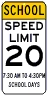 School Times Speed Limit 20 MPH Assembly Sign