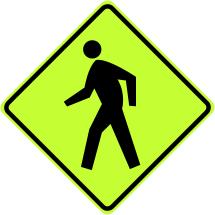 Pedestrian Crossing Ahead Symbol Sign - Fluorescent Yellow Green
