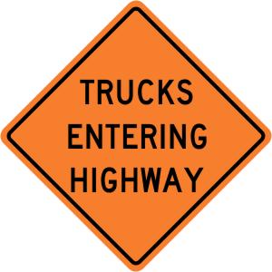 Trucks Entering Highway Construction Sign