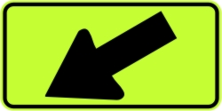 Directional Down Arrow Left Warning Sign - Fluorescent Yellow Green