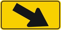 Directional Down Arrow Right Warning Sign