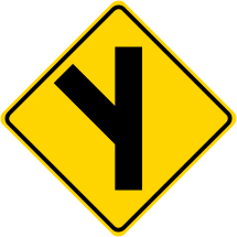 Fork Left Symbol Roadway Warning Sign