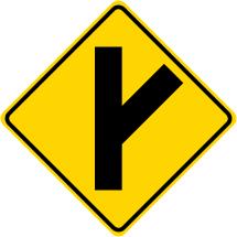 Fork Right Symbol Roadway Warning Sign