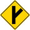 Fork Right Symbol Roadway Warning Sign