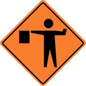 Flagger (Flagman) Ahead Symbol Construction Sign