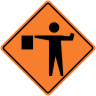 Flagger (Flagman) Ahead Symbol Construction Sign