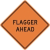 Flagger Ahead Construction Sign