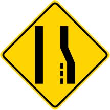 Merge Left Symbol Warning Sign