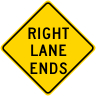 Right Lane Ends Roadway Warning Sign